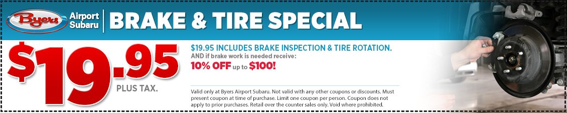 Save with this Columbus, OH area special offer on Subaru Brake Inspection & Tire Rotation service from Byers Airport Subaru in Columbus, OH