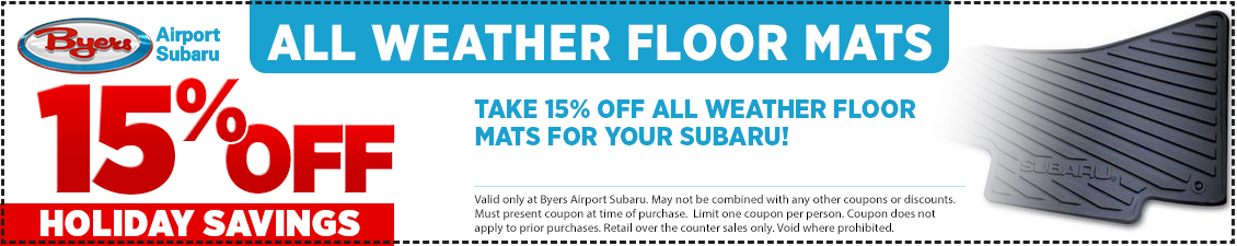 Save with this Columbus, OH area parts special offer on a Subaru All-Weather Floor Mats from Byers Airport Subaru in Columbus, OH