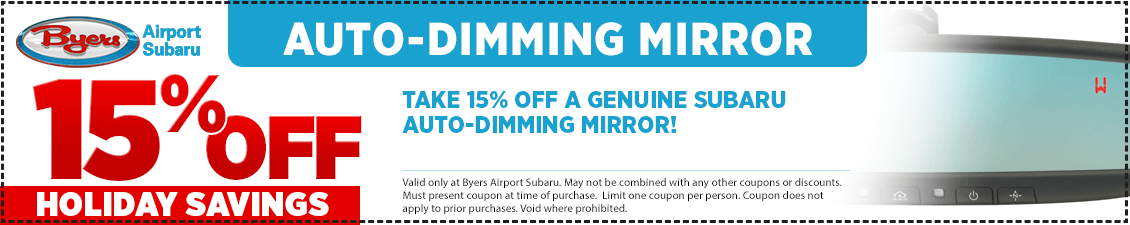 Save with this Columbus, OH area parts special offer on a Subaru Auto-Dimming Mirrors from Byers Airport Subaru in Columbus, OH