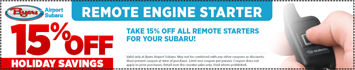 Save with this Columbus, OH area parts special offer on a Subaru Remote Starter from Byers Airport Subaru in Columbus, OH