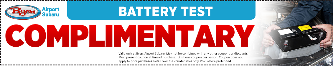 Save with this Columbus, OH area Complimentary Battery Test service from Byers Airport Subaru in Columbus, OH