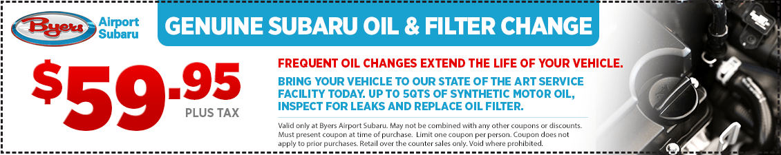 Save with this Columbus, OH area special offer on Subaru Oil & Filter Change service from Byers Airport Subaru in Columbus, OH