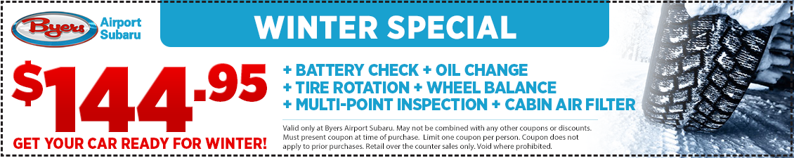 Save with this Columbus, OH area special offer on our Subaru Winter Service Special from Byers Airport Subaru in Columbus, OH