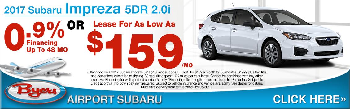 2017 Subaru Impreza 2.0i 5-Door Lease or Low APR Special in Columbus, OH