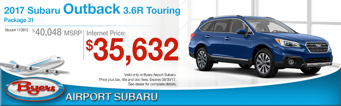 Columbus, OH New 2017 Subaru Outback 3.6R Touring Special Purchase Offer at Byers Airport Subaru