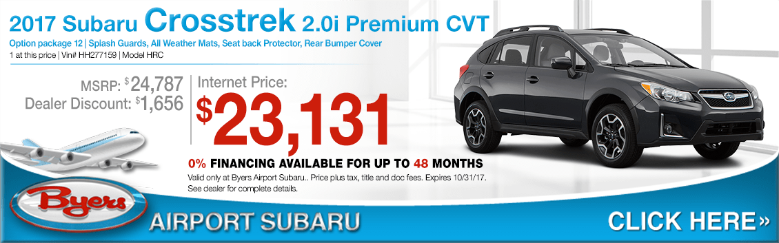 Save when you buy a 2017 Crosstrek 2.0i Premium CVT at Byers Airport Subaru in Columbus, OH