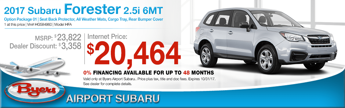 Save when you buy a 2017 Forester 2.5i 6MT at Byers Airport Subaru in Columbus, OH
