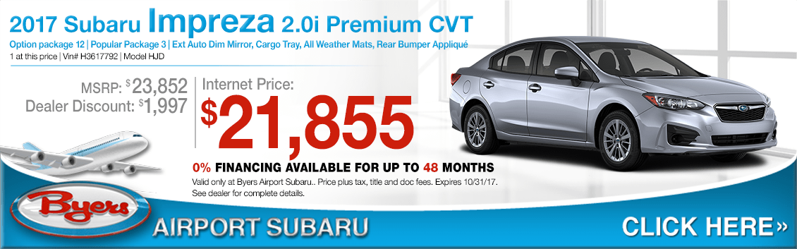 Save when you purchase a 2017 Impreza 2.0i Premium CVT at Byers Airport Subaru in Columbus, OH