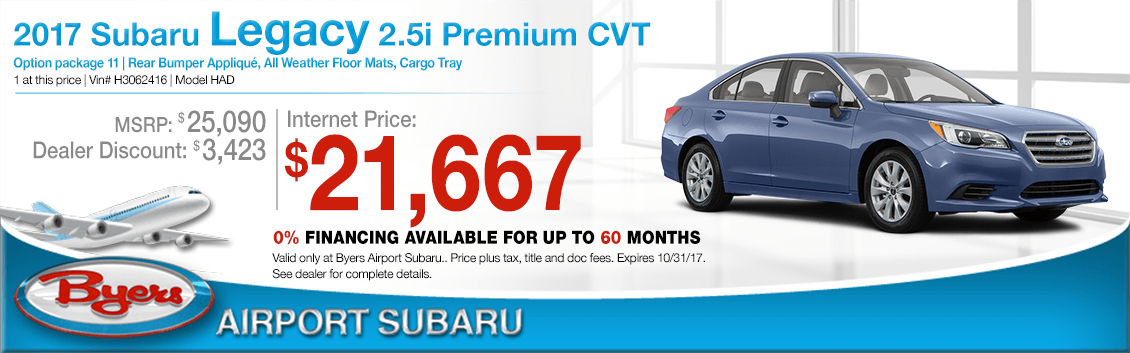 Save when you purchase a 2017 Legacy 2.5i Premium CVT at Byers Airport Subaru in Columbus, OH