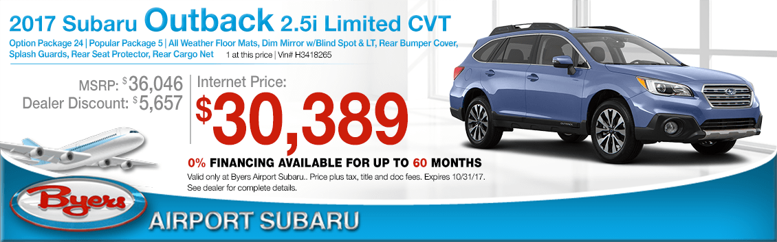 Save when you purchase a 2017 Outback 2.5i Limited CVT at Byers Airport Subaru in Columbus, OH