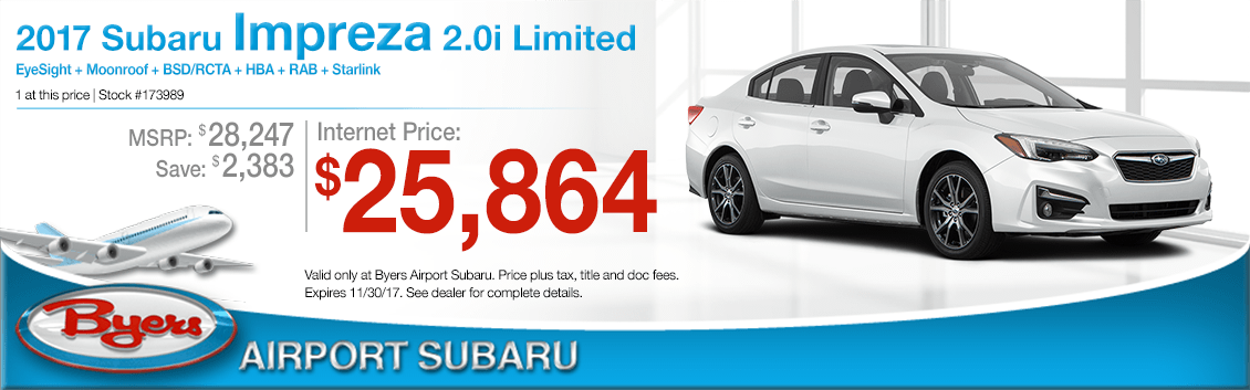 Save on a 2018 Impreza 2.0i Limited at Byers Airport Subaru in Columbus, OH