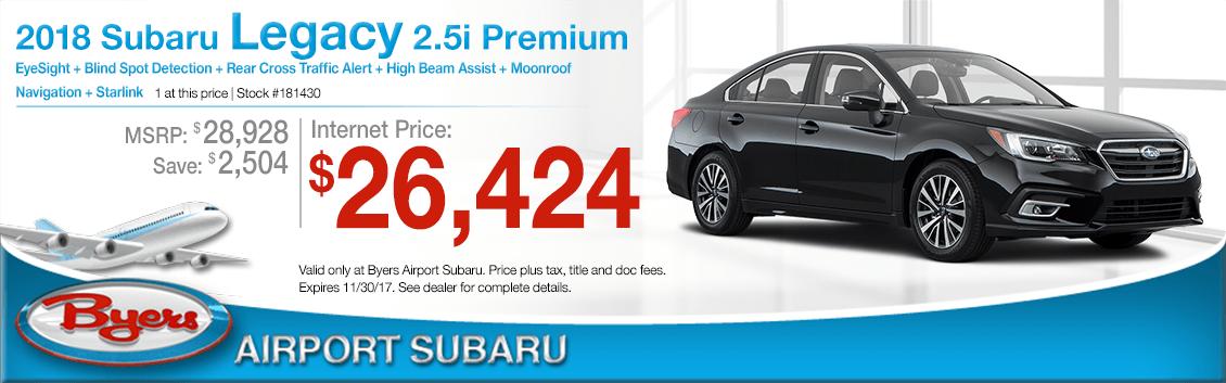 2018 Legacy Premium Sales Special at Byers Airport Subaru in Columbus, OH