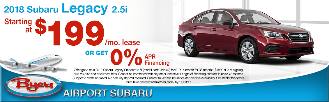 2018 Legacy Low Payment Lease Special at Byers Airport Subaru in Columbus, OH