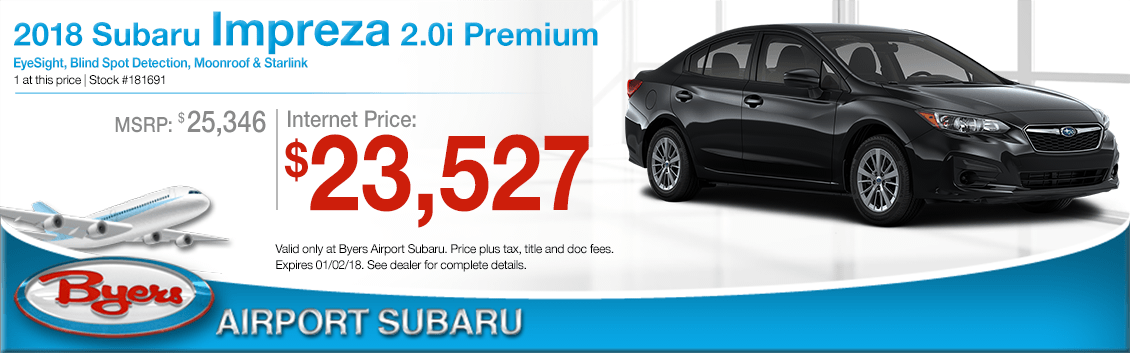Save on a 2018 Impreza 2.0i Premium purchase at Byers Airport Subaru in Columbus, OH