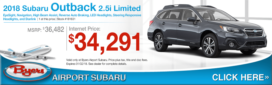 Save on a 2018 Outback 2.5i Limited purchase at Byers Airport Subaru in Columbus, OH