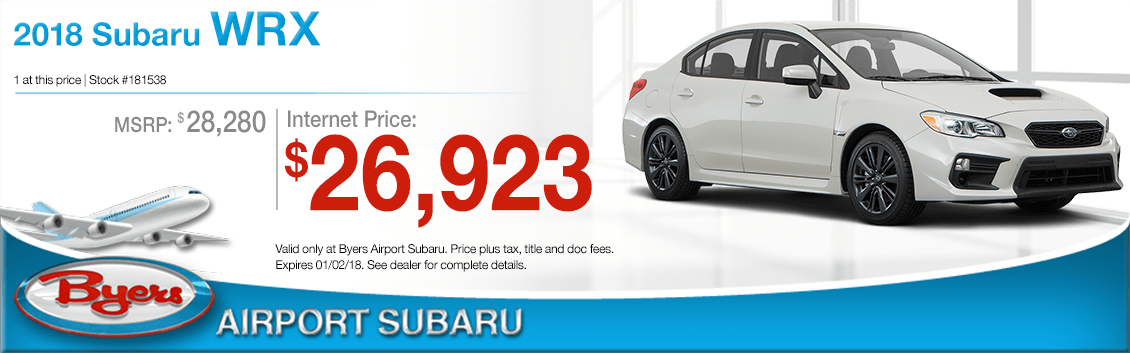 Save on a 2018 WRX purchase at Byers Airport Subaru in Columbus, OH