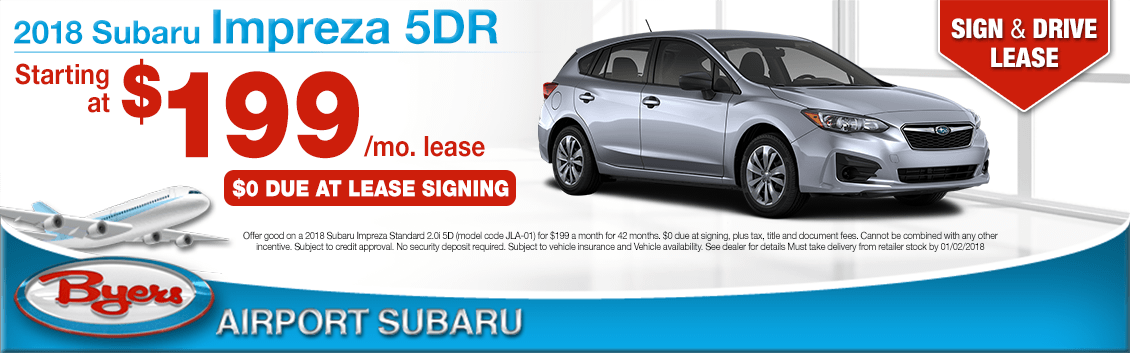 Save on a 2018 Impreza 5-Door lease at Byers Airport Subaru in Columbus, OH