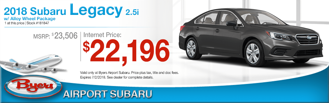 2018 Subaru Legacy 2.5i with Alloy Wheel Package Low Purchase Price Offers in Columbus, OH