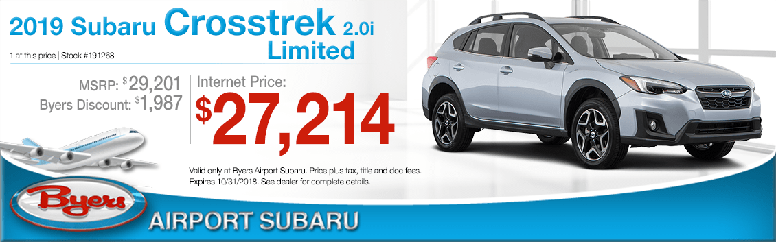 2019 Crosstrek 2.0i Limited Low Payment Lease Special at Byers Airport Subaru in Columbus, OH
