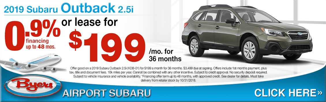 2019 Outback Low APR or Lease Special at Byers Aiport Subaru in Columbus, OH