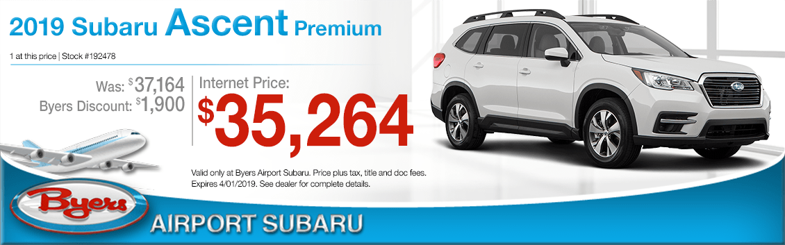 Visit Byers Airport Subaru for Special Pricing on a New 2019 Subaru Ascent Premium