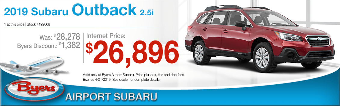 New 2019 Subaru Outback Sales Special at Byers Airport Subaru in Columbus, OH