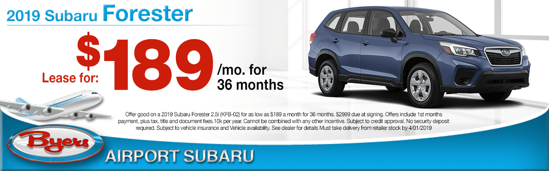 Lease a New 2019 Subaru Forester for less at Byers Airport Subaru in Columbus, OH
