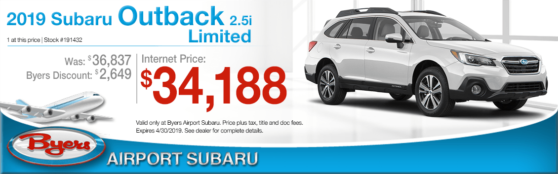Get specials savings on a new 2019 Outback 2.5i Limited at Byers Airport Subaru in Columbus, OH
