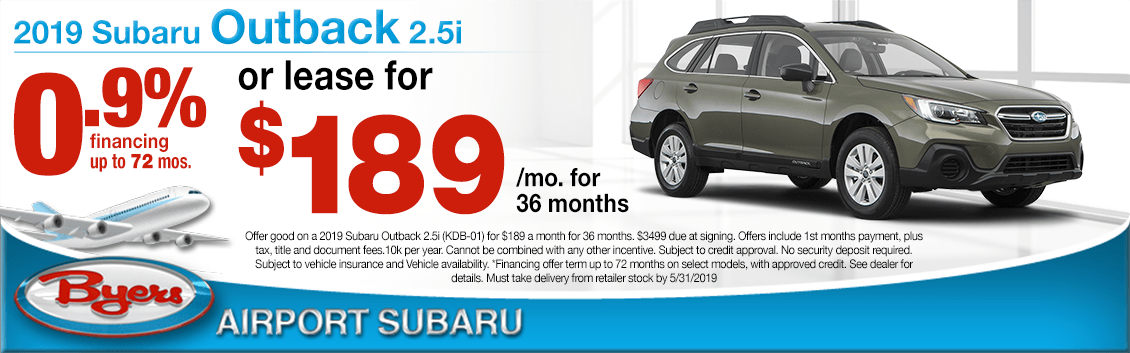 2019 Outback 2.5i Low APR Finance or Lease Special at Byers Airport Subaru in Columbus, OH