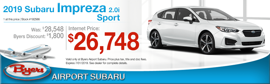 2019 Impreza 2.0i Sport Sales Special at Byers Airport Subaru in Columbus, OH