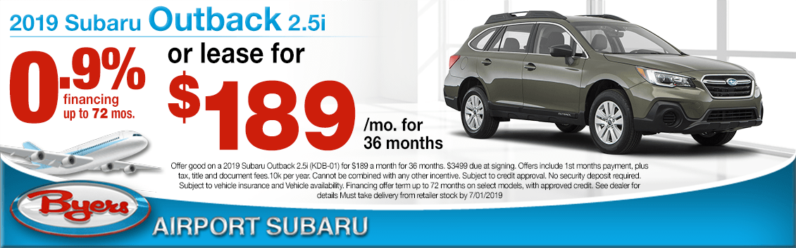 2019 Outback 2.5i Finance or Lease Special at Byers Airport Subaru in Columbus, OH