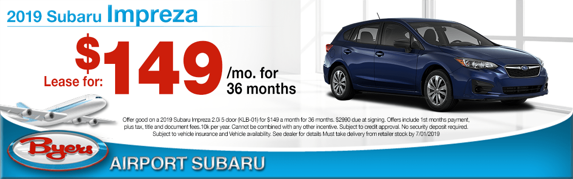 2019 Impreza Low Payment Lease Special at Byers Airport Subaru in Columbus, OH