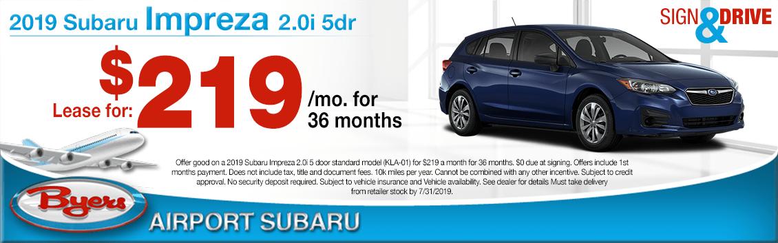 2019 Subaru Impreza 2.0i 5-Door Lease Special in Columbus, OH