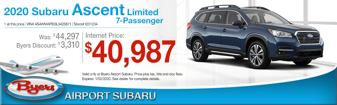 New 2020 Subaru Ascent SUV Limited 7-Passenger Special at Byers Airport Subaru in Columbus, OH