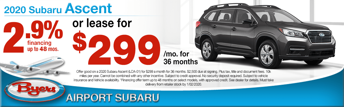 New 2020 Subaru Ascent Finance or Lease Special at Byers Airport Subaru in Columbus, OH
