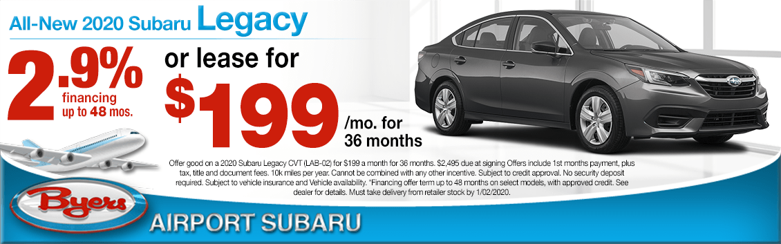 New 2020 Subaru Legacy Finance or Lease Special at Byers Airport Subaru in Columbus, OH