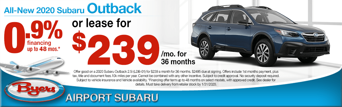New 2020 Subaru Outback Finance or Lease Special at Byers Airport Subaru in Columbus, OH