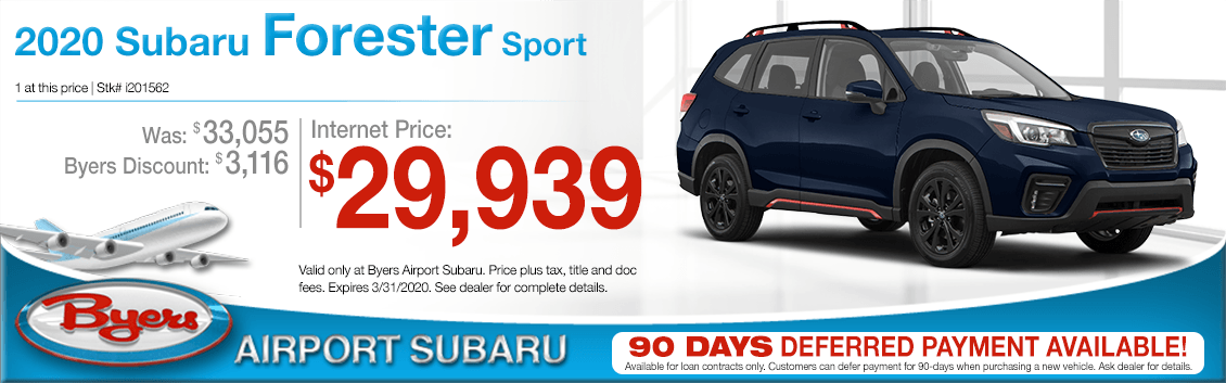New 2020 Subaru Forester Sport Purchase Special at Byers Airport Subaru in Columbus, OH