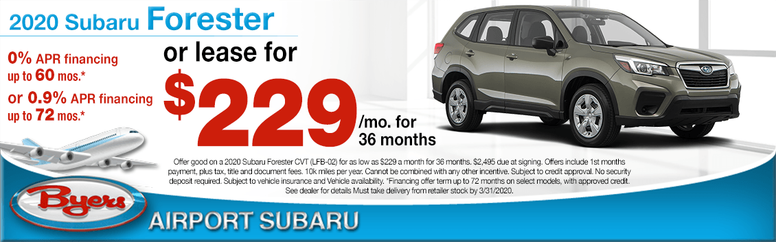 New 2020 Subaru Forester Finance or Lease Special at Byers Airport Subaru in Columbus, OH
