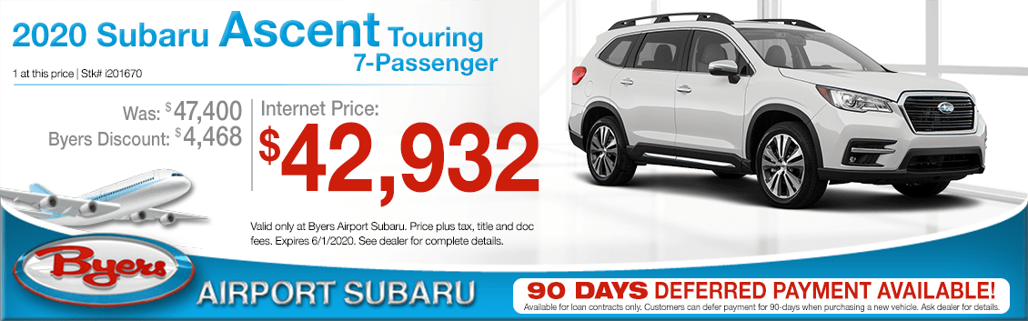New 2020 Subaru Ascent Touring 7 Passenger Purchase Special at Byers Airport Subaru in Columbus, OH