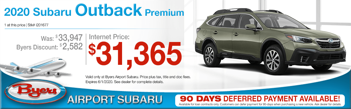 New 2020 Subaru Outback Premium Purchase Special at Byers Airport Subaru in Columbus, OH