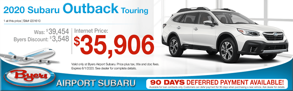 New 2020 Subaru Outback Touring Purchase Special at Byers Airport Subaru in Columbus, OH