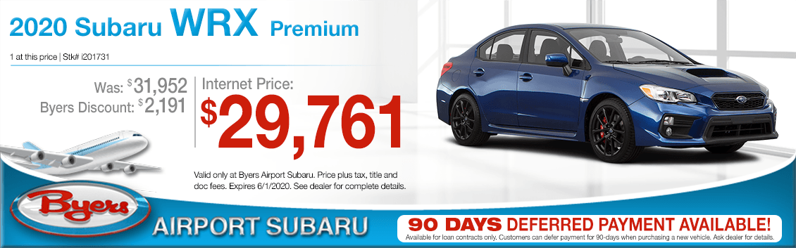 New 2020 Subaru WRX Premium Purchase Special at Byers Airport Subaru in Columbus, OH
