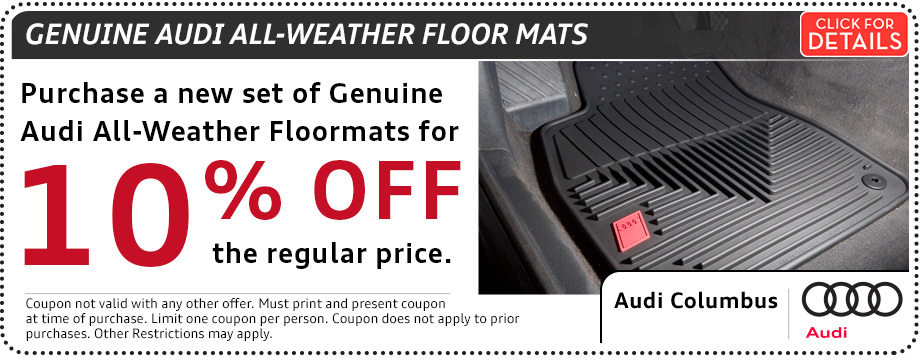 Click to view our Audi all-weather floor mat parts special in Columbus, OH
