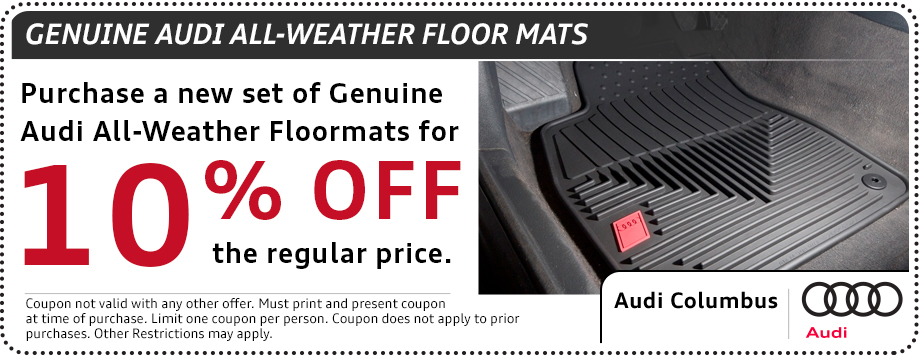 Audi all-weather floor mat parts special in Columbus, OH