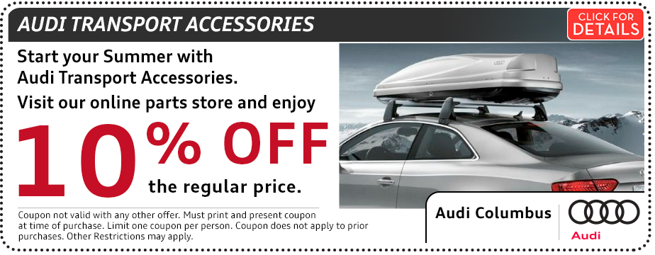 Click to view our Audi transport accessories parts special in Columbus, OH