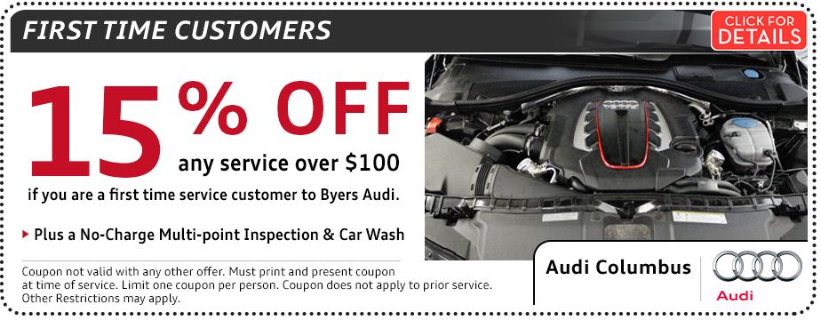 Click to print this Audi First Time Customer Special Savings Offer in Columbus, OH