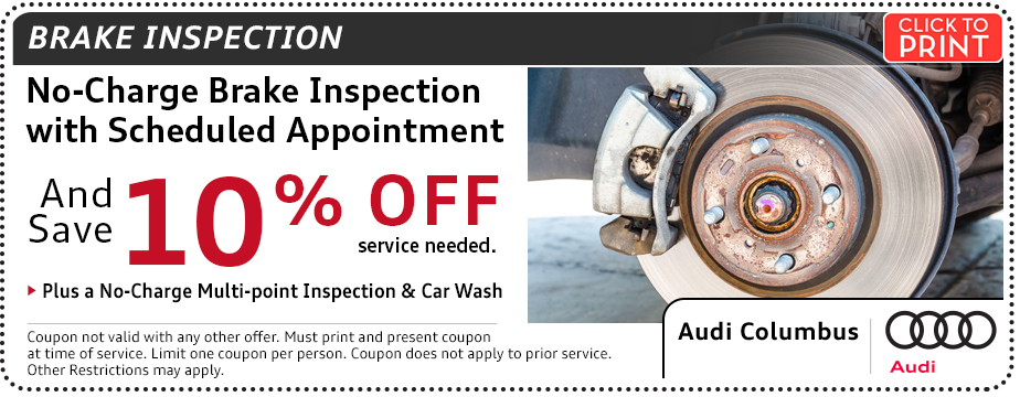 Click to print this Audi Brake Inspection Service Special in Columbus, OH