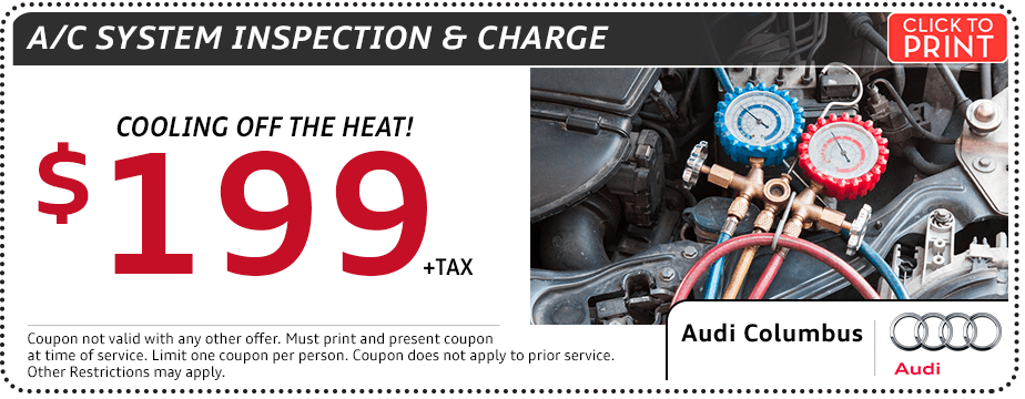 Click to Print This Audi Air Conditioning Inspection and Charge Service Special in Columbus, OH