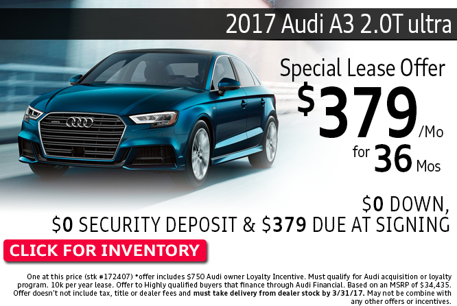 Enjoy Special Lease Savings on 2017 Audi A3 2.0T ultra Models during this month's savings in Columbus, OH